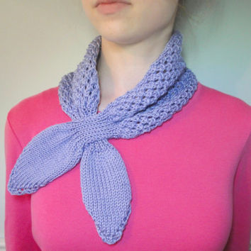 Lace Ascot Scarf, Pima Cotton, Hand Knit, Lavender Purple, Bow Scarf, Neckwarmer, Office Scarflette