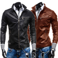 Biker Zip Slim Fit Men's Faux Leather Jacket