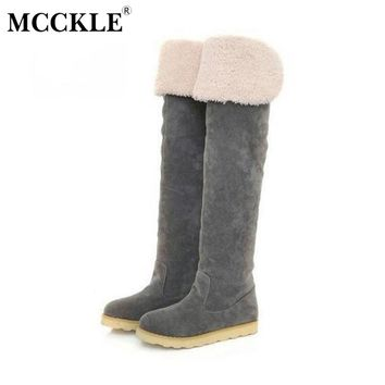 MCCKLE Female Winter Flat Platform Warm Plush  Over The Knee Botas 2017 Ladies Fur Suede Style Thigh High Snow Boots Shoes