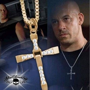 Gold-Tone Fast And Furious Vin Diesel Dominic Toretto Cross Pendant (p027GOLD)