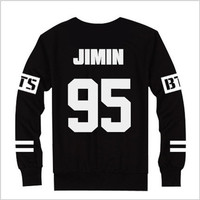 Autumn winter hoodie sweatshirt Kpop BTS Bangtan Boys JUNG JIN JIMIN V SUGA Sweatshirt Women Black sleeve bts hoodies for women