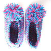Turquoise and pink women's slippers with pom poms, crochet booties, house shoes, house slippers, valentine's day gift, ready to ship