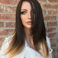Joette Human Hair Blend Multi Parting Lace Front Wig 12""