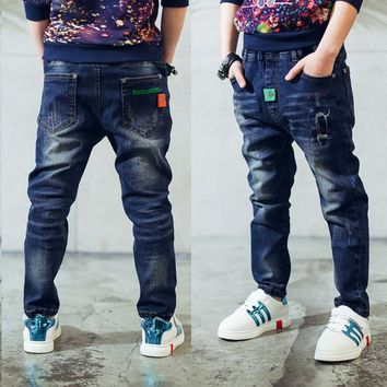 Boy's jeans, Spring and Autumn boys jeans personality patch casual pants Children jeans 3 4 5 6 7 8 9 10 11 12 13 14 years old