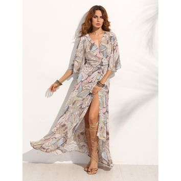 Multicolor V-Neck Half Sleeve Floral Print Maxi Dress