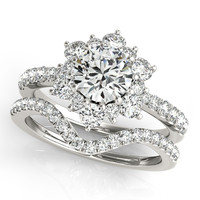 Diamond Halo Wedding Set - Snowflake