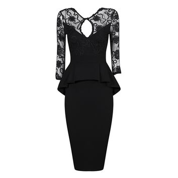Posh Girl Lace Peplum Bodycon Dress
