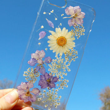 Daisy Flower Case Real dried flowers phone case Handmade LIMITED-Tanacrafts Phone Cover for iPhone 7 7Plus & iPhone se 5s 6 6 Plus