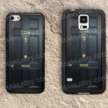 221B door case iphone 4 4s iphone  5 5s iphone 5c case samsung galaxy s3 s4 case s5 galaxy note2 note3 case cover skin 136