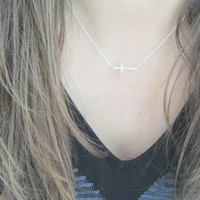 Sterling Silver Sideways Cross Necklace, Celebrity Jewelry, Cross Necklace, Off Center Cross Necklace, Gift for her, Religious Necklace