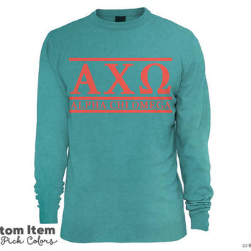 AXO Alpha Chi Omega Custom Comfort Colors Classic Sorority Sweatshirt