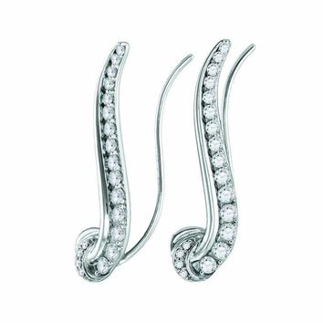14kt White Gold Women's Round Diamond Curved Climber Earrings 3-4 Cttw - FREE Shipping (USA/CAN)