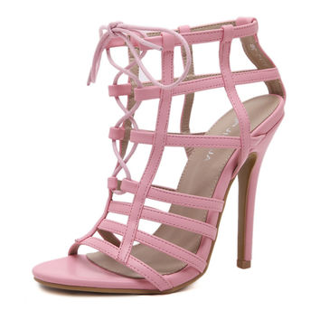 2017 Summer Sexy Girl Gladiators Pink Faux Suede Hollow Out Cross Tied High Heels Ladies Pointed toe Sandals Woman Wedding Shoes