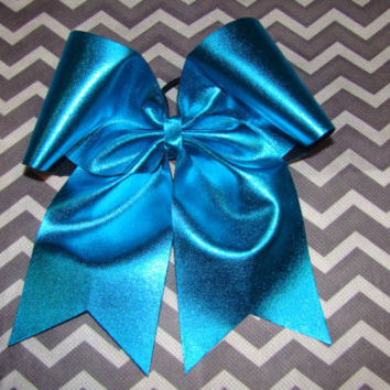 Blue Metallic Cheer Bow