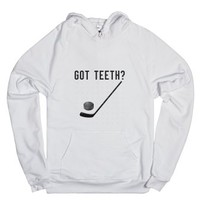 hockey teeth-Unisex White Hoodie