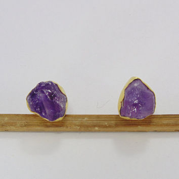 Amethyst Studs Earrings - Gold Plated Studs - Birthstone Earrings - Handmade Studs Earrings - Gemstone Studs Earrings - Birthday Gifts