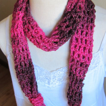 Crochet Scarf,Skinny Scarf,Fashion Scarf,Pink Scarf,Long scarf,Teen Scarf,Red Heart Boutique,Boho Scarf,Pink,Sparkly Yarn,Sparkly Pink Ombre
