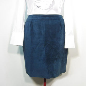 1990s Peacock Deep Cornflower Blue Danier Leather Suede Pencil Skirt - Size 16 - Large / Extra Large