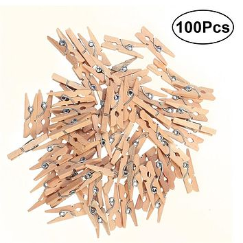 100pcs 2.5CM Wooden Clothespins Clothes Pegs Pins