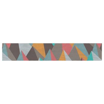 "Michelle Drew ""Mountain Peaks I"" Orange Teal Table Runner - Outlet Item"