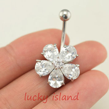 crystal flower belly button jewelry,cute flower belly button rings,fabulous navel ring,crystal piercing belly ring,friendship gift