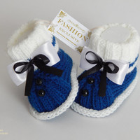 Hand knitted cute baby booties.Baby Boy Bootees.