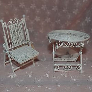 Doll House White Metal Garden Table & Chair Rare Folding Set New