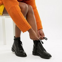 New Look Lace Up Flat Boot at asos.com
