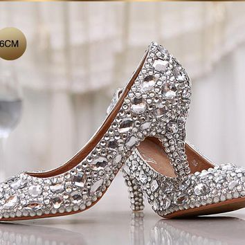 Fashion women's crystal rhinestone shoes platform shoes bride wedding shoes bridesmai