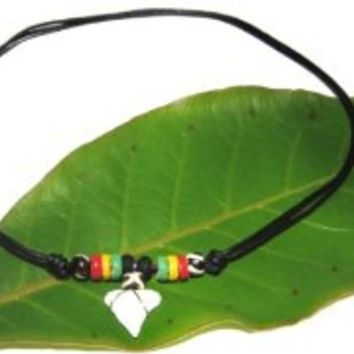 Real Shark Tooth Necklace- Rasta Necklace - Jamaican Necklace - Surfer Necklace