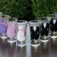 14 Personalized Bridesmaid and Groomsmen Shot Glasses