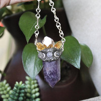 Triple Moon Goddess Necklace w/ Amethyst, Citrine Points, Rose Quartz & Silver Moons, MAIDEN - MOTHER - CRONE, Pagan Jewelry, Festival Style