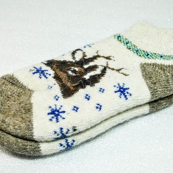 Knitted Woolen Women's short Socks, White Wool Socks, Socks Deer, Christmas Socks, Winter Socks