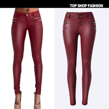 Hot Sale Women's Fashion Low Waist Slim Pants Zippers Plus Size Skinny Pants [6365914308]