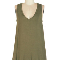 ModCloth Mid-length Sleeveless Endless Possibilities Tunic in Olive