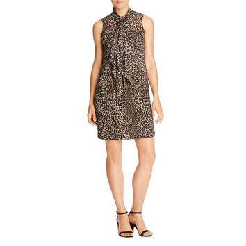 MICHAEL Michael Kors Womens Animal Print Bow-Tie Casual Dress