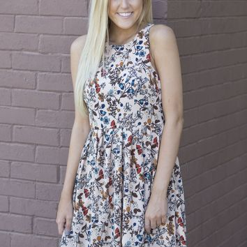 Lush High Neck Floral Babydoll Dress
