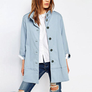 Blue Stand Collar Trench Coat