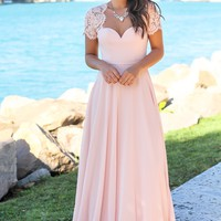 Blush Maxi Dress with Open Back and Lace Detail