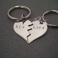 Broken Half Heart Keychains, His Hers Keychain, LDR Gift, Long Distance Relationship