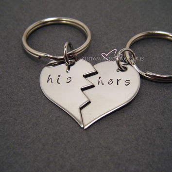 NO LONGER OFFERING CHRISTMAS DELIVERY Broken Half Heart Keychains, His Hers Keychain, LDR Gift, Long Distance Relationship