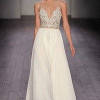 Hayley Paige 'Teresa' T-Strap Back Embellished Chiffon A-Line Gown (In Stores Only) | Nordstrom
