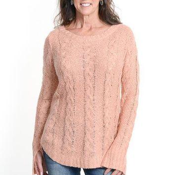 Peach Cable Knit Sweater