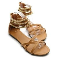 Ollio Women's Shoe Gladiator Zipper Ankle Strap Multi Color Studded Sandal