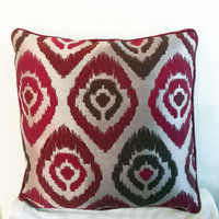 Decorative Throw Pillow Cover 18x18 in Beige with Ikkat Style Motifs in Red Accent Pillows Pillowcase Couch Pillows Cushion Cover Home Decor