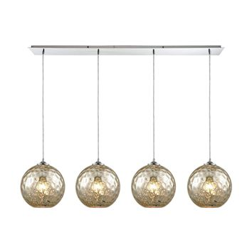 Watersphere 4 Light Linear Pan Fixture In Polished Chrome With Mercury Hammered Glass