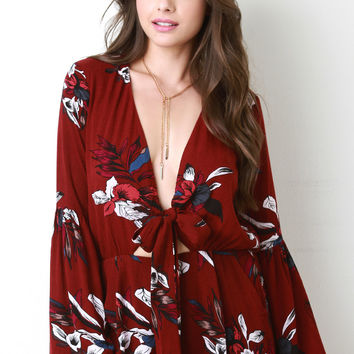 Bell Sleeve Tropical Tie Romper