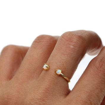 size 5 6 7 open midi Gold color two opal stone adorable girl women jewelry simple fashion delicate minimal ring