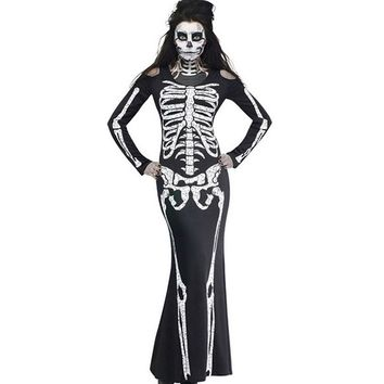 Halloween Costume Mermaid Maxi Dress Women 2018 New Horror Skeleton Print Party Ghost Cosplay Hot Sale Lady Black Skull Dresses