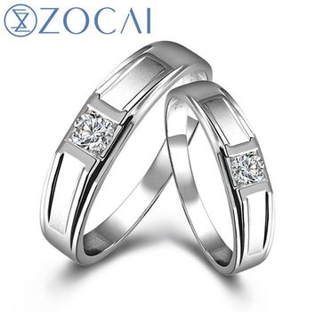 ZOCAI Commitment 0.33 CT in Total Diamond Wedding Bands Ring I-J / SI Diamond His and Her 18K White Gold (Au750) Q00082_4